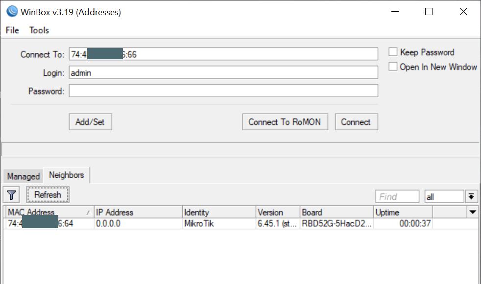 """WinBox - подключение на """"чистый"""" роутер"""