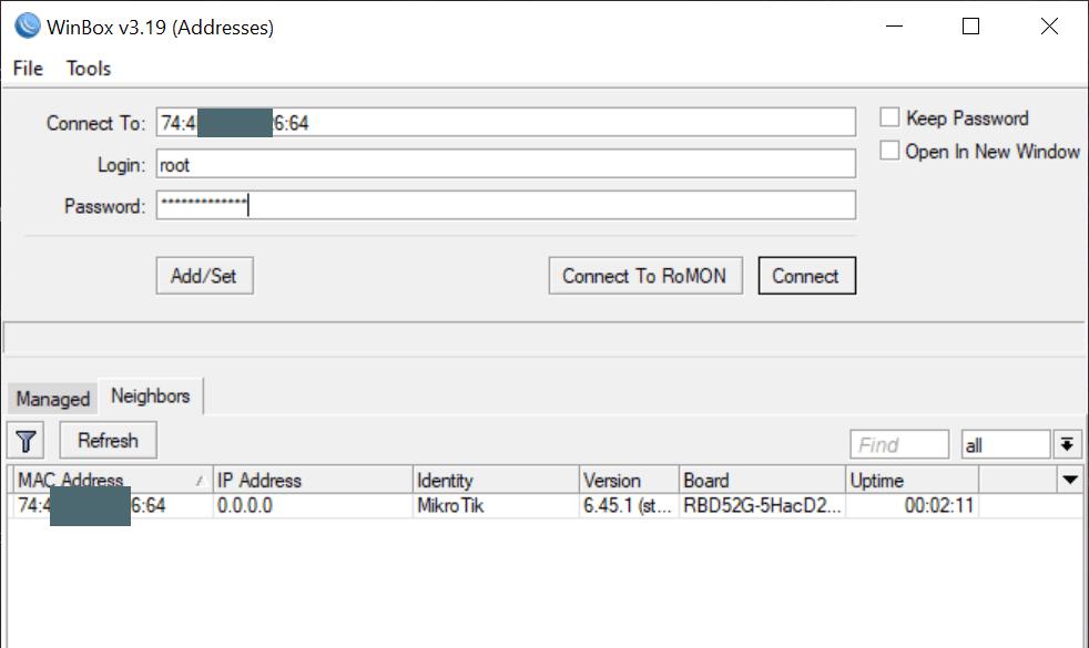 WinBox - подключение новым пользователем