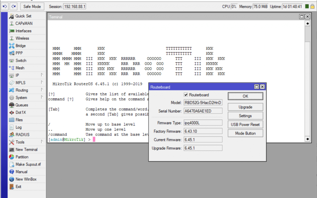 Обновление RouterBOOT