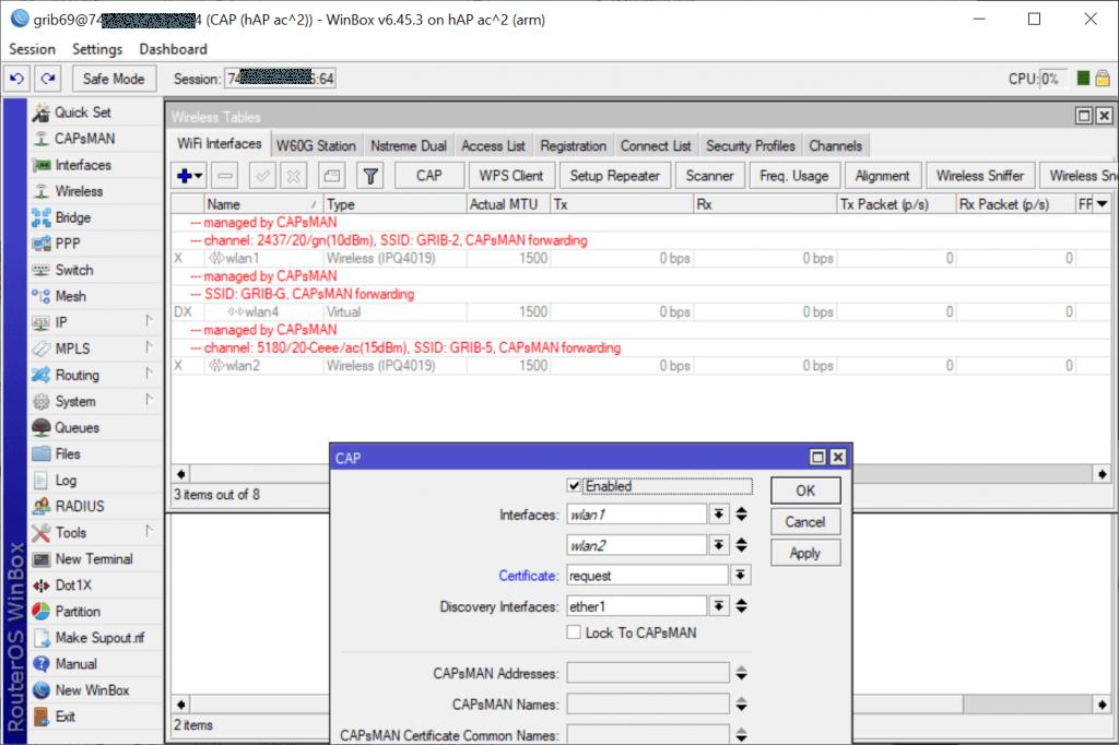 MikroTik CAP Certificate request