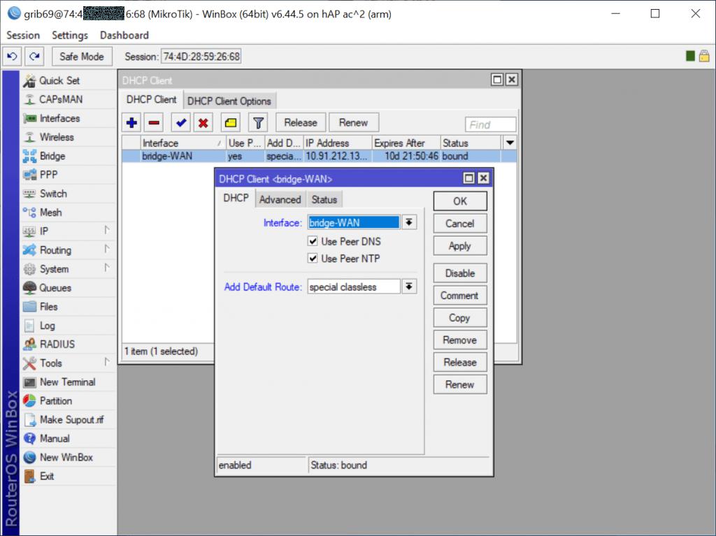Привязка DHCP Client к интерфейсу bridge2-WAN